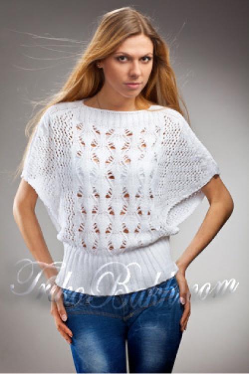 женский свитер летучая мышь ажурный узор спицами